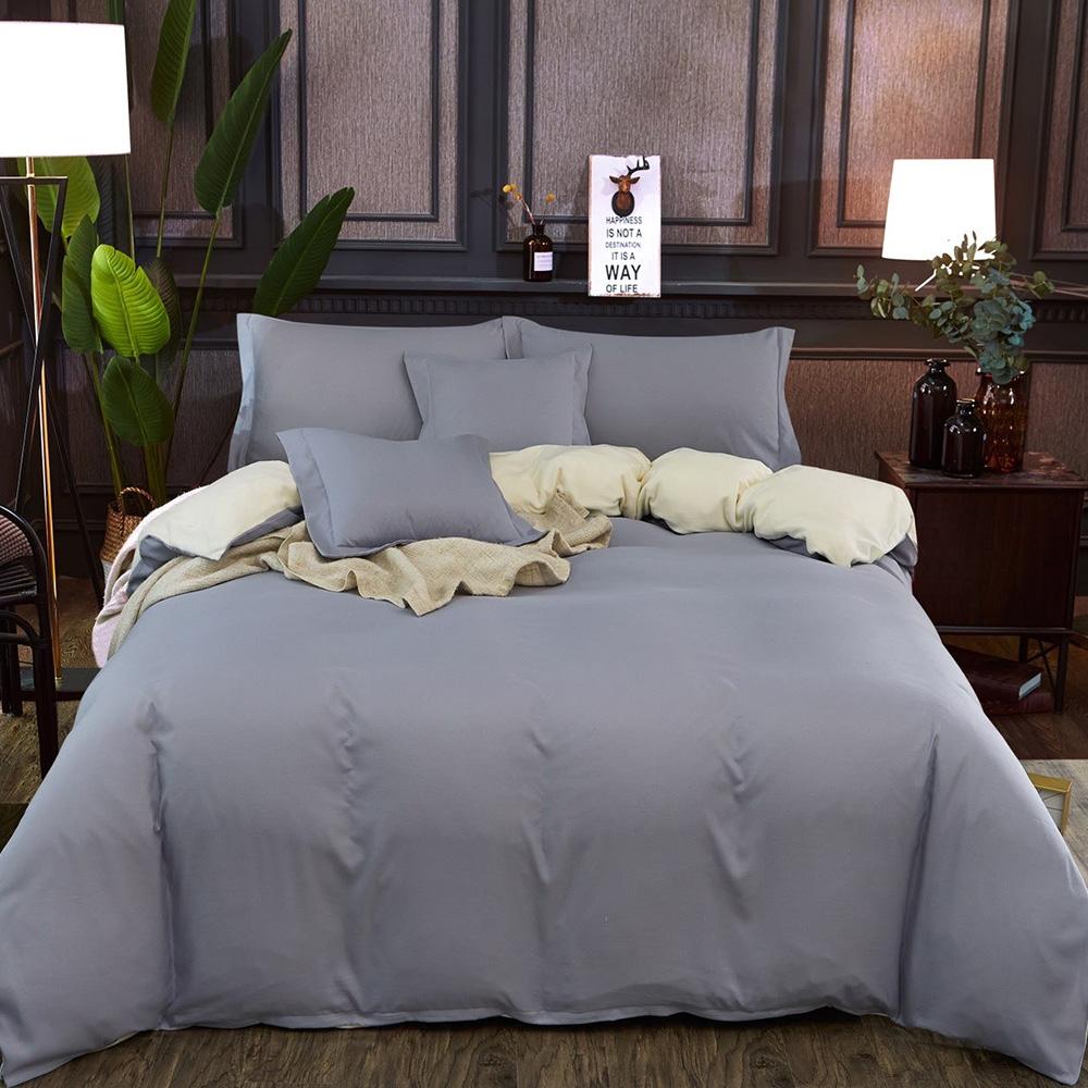 Bavlnené obliečky BASE&GRAY - 200 x 220 cm - 6 SET 1x prikrývka. 2x vankúš . 2x malý vankúš. 1x plachta - Sivá