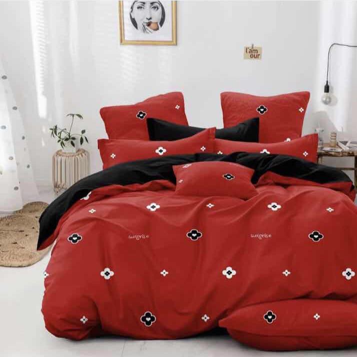 Bavlnené obliečky CHILL červené 140x200cm - 140 x 200 cm - 7 SET 2x vankúš 2x malý vankúš 2x prikrývka 1x plachta - Červená