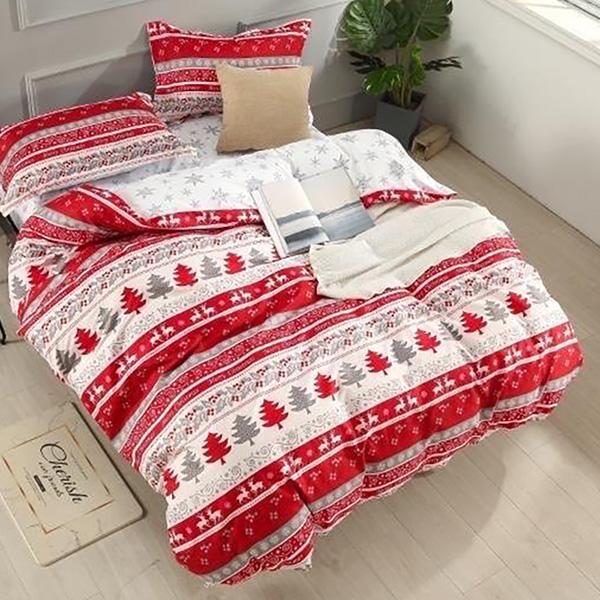 Bavlnené obliečky CHRISTMAS RED-WHITE 3 dielna súprava 140x200cm - 140 x 200 cm - 3 SET 1x vankúš 1x malý vankúš 1x prikrývka - Červená
