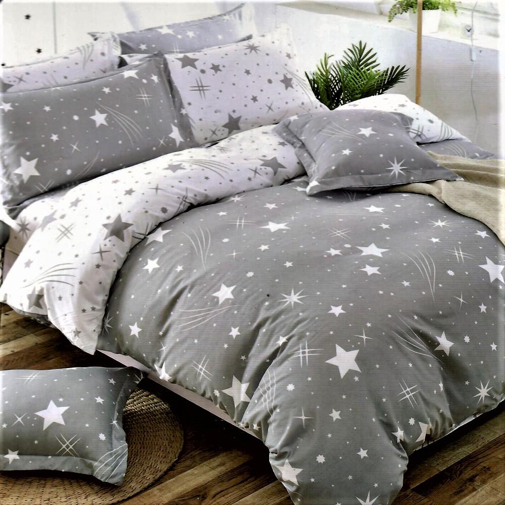 Bavlnené obliečky STAR-9 gray 7 set 140x200cm - 140 x 200 cm - 7 SET 2x vankúš 2x malý vankúš 2x prikrývka 1x plachta - Sivá svetlá