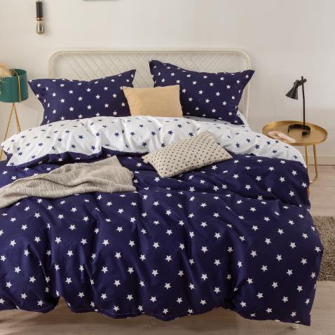 Bavlnené obliečky STAR BLUE 3 dielna súprava 140x200cm - 140 x 200 cm - 3 SET 1x vankúš 1x malý vankúš 1x prikrývka - Modrá