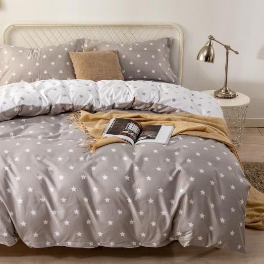 Bavlnené obliečky STAR GRAY 3 dielna súprava 140x200cm - 140 x 200 cm - 3 SET 1x vankúš 1x malý vankúš 1x prikrývka - Sivá svetlá
