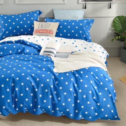 Bavlnené obliečky STAR LIGHT BLUE 3 dielna súprava 140x200cm - 140 x 200 cm - 3 SET 1x vankúš 1x malý vankúš 1x prikrývka - Modrá svetlá