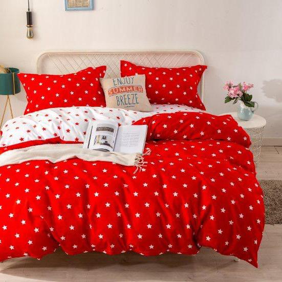 Bavlnené obliečky STAR RED 3 dielna súprava 140x200cm - 140 x 200 cm - 3 SET 1x vankúš 1x malý vankúš 1x prikrývka - Červená