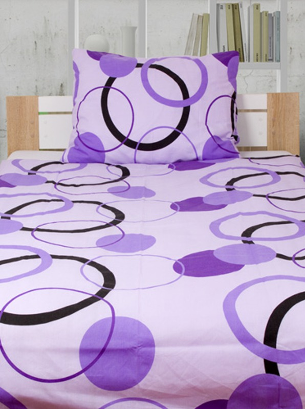 CARROLA fialová Flanelové obliečky - 140 x 200 cm - 1x vankúš 1x prikrývka - Fialová