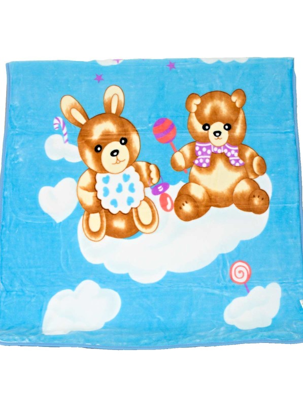Detská deka Homa medvedik-zajko modrá - 110 x 140 cm
