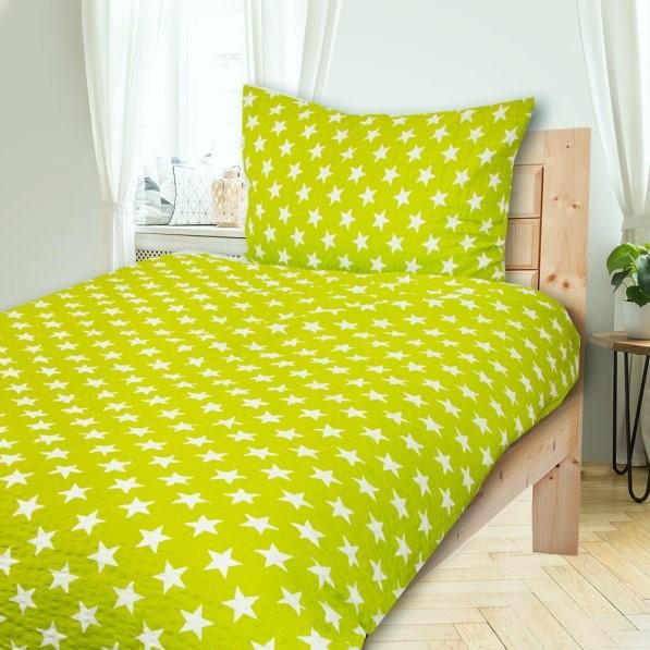 HVIEZDY zelené 140x200cm Krepové obliečky - 140 x 200 cm - 1x vankúš 1x prikrývka - Zelená svetlá