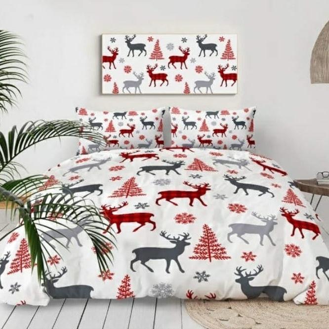 Jemné mikroplyš obliečky CHRISTMAS 140x200cm 2 dielna sada - 140 x 200 cm - 1x vankúš 1x prikrývka - Biela