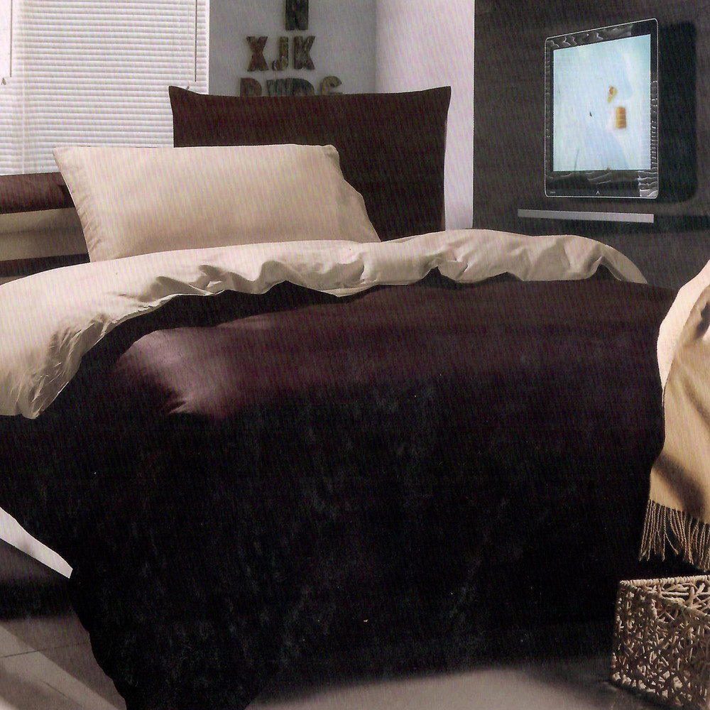 Bavlnené obliečky LUNA hnedé 140x200cm - 200 x 220 cm - 6 setové balenie - Hnedá