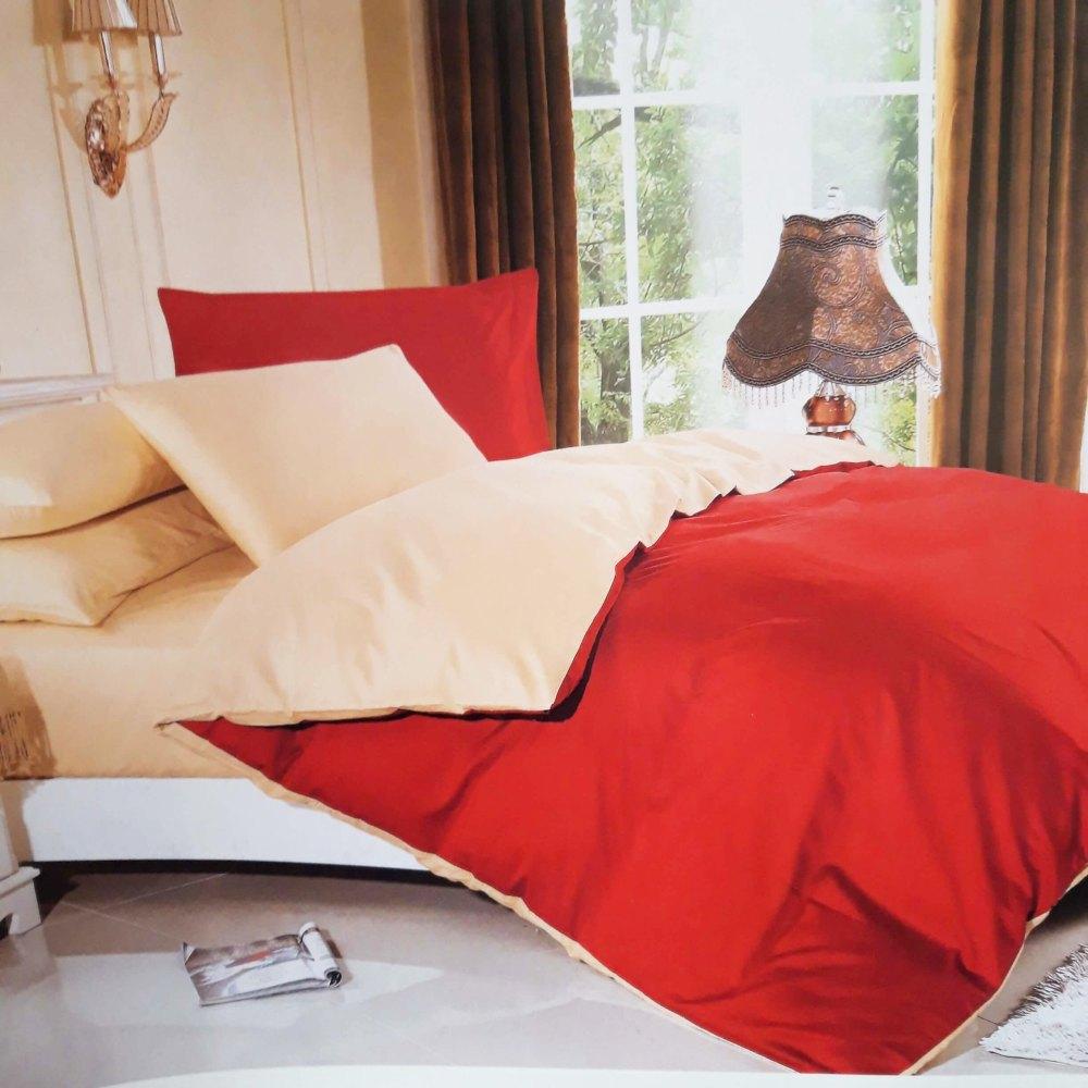 LUNA bavlnené jednofarebné obliečky červeno béžové - 200 x 220 cm - 6 SET. 1x prikrývka. 2x vankúš . 2x malý vankúš. 1x plachta - Červená