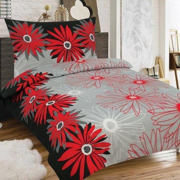 MARGARÉTA červeno-čierne bavlnené obliečky 140x200 - 140 x 200 cm - 1x vankúš 1x prikrývka - Červená