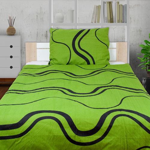 RONA zelené Flanelové obliečky - 140 x 200 cm - 1x vankúš 1x prikrývka - Zelená