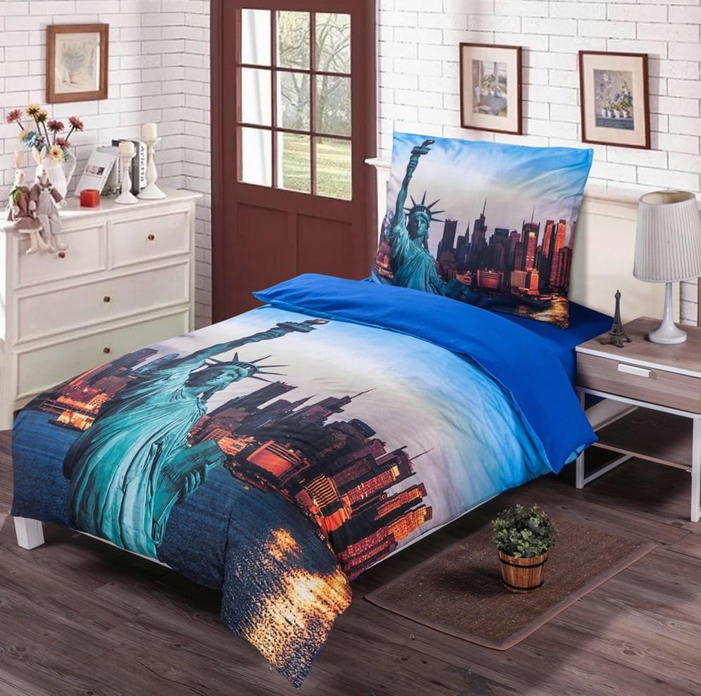 NEW YORK modré foto obliečky 140x200cm - 140 x 200 cm - 1x vankúš 1x prikrývka - Modrá