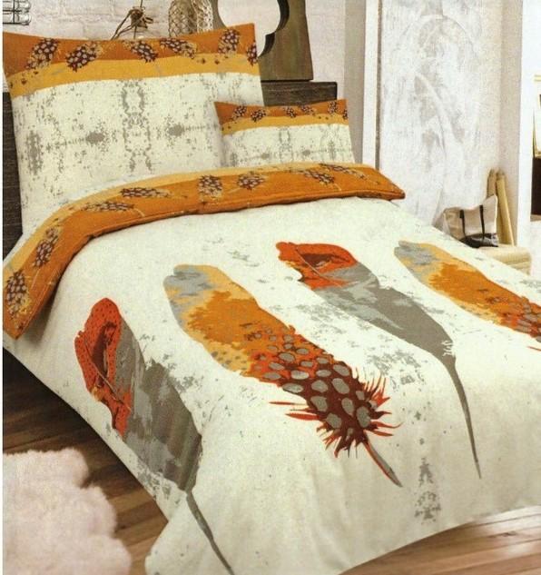 PIERKO oranž Flanelové obliečky - 140 x 200 cm - 1x vankúš 1x prikrývka - Oranžová