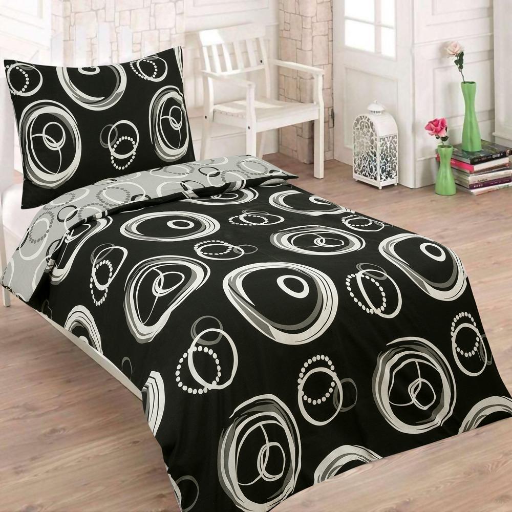 PILAR DUO čierne bavlnené obliečky 140x200 - 140 x 200 cm - 1x vankúš 1x prikrývka - Čierna