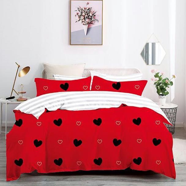 Posteľné návliečky HEART červené - 140 x 200 cm - 7 SET 2x vankúš 2x malý vankúš 2x prikrývka 1x plachta - Červená