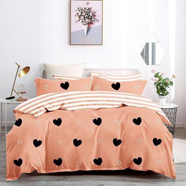 Posteľné návliečky HEART oranžové - 140 x 200 cm - 7 SET 2x vankúš 2x malý vankúš 2x prikrývka 1x plachta - Oranžová