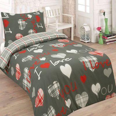 LOVE YOU sivá - 140x200cm bavlnené obliečky