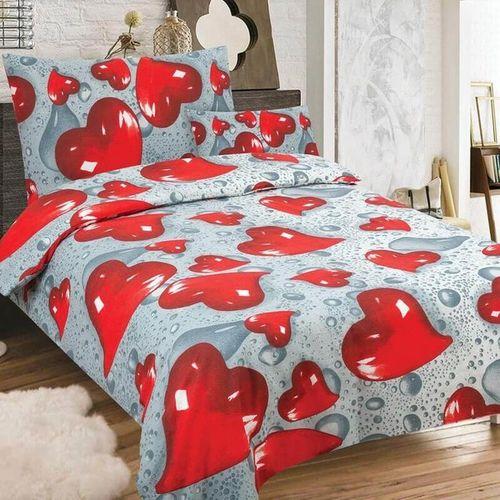 SRDCE červená-sivá - 140x200cm bavlnené obliečky