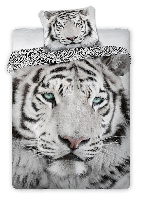 TIGER bavlnené obliečky 140x200cm - 140 x 200 cm - 1x vankúš 1x prikrývka - Biela
